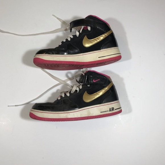 Nike Shoes Air Force 1 Black Pink Gold Youth 7 Poshmark